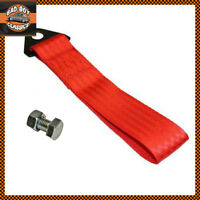 Red Universal Racing Drifting Motorsport JDM Car Tow Strap + Fixing Bolt