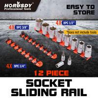 12 Industrial ABS Mountable Socket Sliding Rail Rack Holder Organizer 1/4 3/81/2