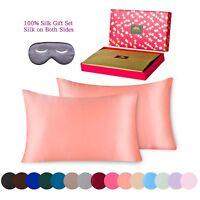 BlueHills Silk Pillowcase 3piece Gift Set 100% Pure Mulberry Silk King Rose Gold