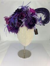 NWT Kokin Purple Fascinator With Feathers, Flowers & Butterflies