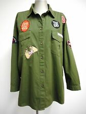 Gorgeous shirt by Kendall & Kylie army green cotton with applique patches size M