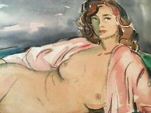 "Arthur Elliot  Original Water Color Painting ""Nude Woman """