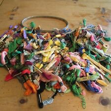 "Mixed Lot DMC & Coats 80+ Skeins EMBROIDERY FLOSS & Vintage Metal HOOP 9""x5"""