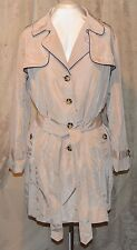 EVINE'S BOWS & SEQUINS WOVEN LONG SLEEVED TIE WAIST TRENCH COAT TAN/NAVY 1X NEW