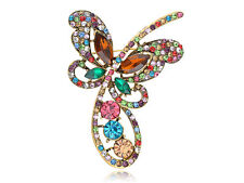 Golden Abstract Colorful Crystal Rhines Encrusted Butterfly Loop Pin Brooch