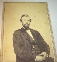 Antique American Civil War Fashion Dapper Gentleman, Watch & Chain! CDV Photo!