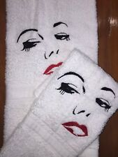 Embroidered Bathroom Hand Towel and Cloth- Woman's Face Silhouette- Red lips