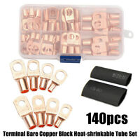 140pcs Copper Wire Ring Terminal Lug Battery Welding Bare Cable Connectors Kit
