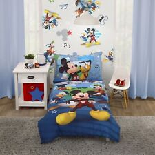 Disney 4-Piece Mickey Mouse Fun with Friends Toddler Bedding Set Kids Room New