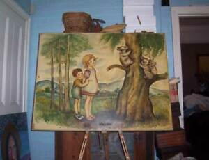 LARGE oil painting PIXIE O'HARRIS 1953 Famous children book illustrator listed