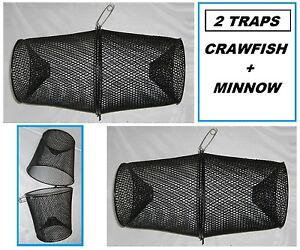 TWO PROMAR Crawfish/Minnow Bait Traps- Vinyl Coated Metal- TR601 SET OF 2