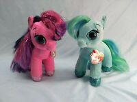 "My little Pony TY Beanie Boo Sparkles TOPAZ Plush 10"" Lot of 2 Stuffed Animal B2"