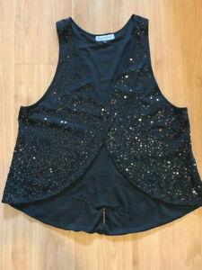 Dream Diva Plus Size 20 Black Sequined Ladies Waistcoat