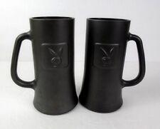 Pair of Vintage Playboy Frosted Mugs Black Glass Mug Stein Tankard Hugh Heffner