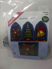 "CHRISTMAS TRIPTYCH Stained Glass Plastic Canvas Kit 10"" x 18""  Design Works HTF"