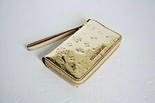 NWT Michael Kors Jet Set Travel LG Phone Case Mirror Metallic Wristlet Pale Gold
