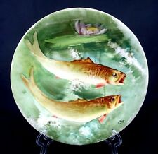 Antique Blakeman&Henderson Limoges France Fish Plate Platter Signed 13""