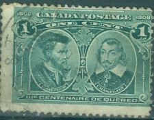 Canada 1908 1¢ Green Cartier & Champlain Quebec Tercentenary Uni#97