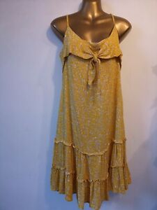 Dress 12 Yellow Strappy zip fasten Sun  sunshine yellow Tiered holiday fit/flare
