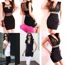 Women Sexy Hollow Sequins Deep V Neck Low-Cut Bodycon Mini Dress Black White New