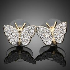 Sparkly Shiny Austria Crystal Rhinestones Gold Plated Butterfly Stud Earrings