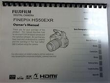 Fujifilm Hs50exr Manual de instrucciones impreso Guía del usuario de 140 páginas