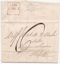 * 1835 RED BOXED LATE FEE LONDON POSTMARK ON TEMPLE TO WYMONDHAM NORFOLK LETTER