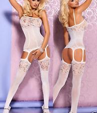 Lencería Sexy Ropa de dormir ropa de dormir suspender Liga cuerpo blanco tamaño 6-12