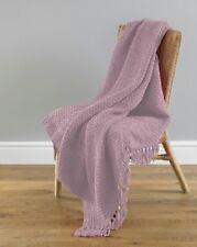 Luxury Woven Basket Weave Chenille Stylish Blush Fringed Throw - 127cm x 152cm