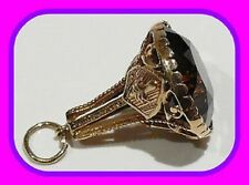 LARGE HEAVY 9.52G 9CT GOLD VINTAGE SMOKY QUARTZ ENGLISH FOB/SEAL PENDANT HM~RARE