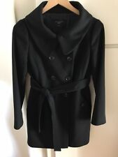 Ann Taylor Women's 80% Virgin Wool Long Trench Coat Black Petite SP