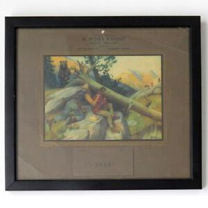 Framed 1932 Calendar Philip R Goodwin Litho — Bear & Hunters