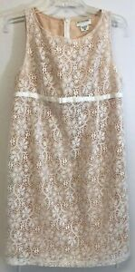 A PEA IN THE POD MATERNITY Sz M Ivory Lace Dress Sleeveless Bow