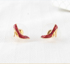 KATE SPADE 12K Gold-Plated Red Glitter High Heel Shoe Stud Earrings NEW