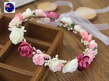 Lady flower Fairy wedding Pink Red bride Party Hair Headband Crown Prop Garland