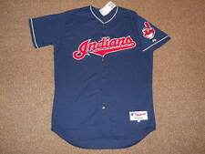 Cleveland Indians Navy Team Issue Authentic Jersey sz 48 Majestic New Mens