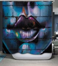 Graffiti Lips Fabric Shower Curtain 70x70 w/Hooks City Street Art Stone Wall