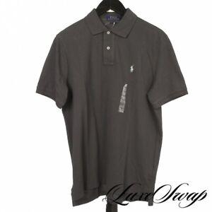 NWT Polo Ralph Lauren Classic Fit Charcoal Grey Pique Tennis Polo Shirt M NR