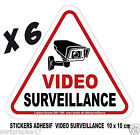 Lot de 6 stickers adhesif camera video surveillance / format 10x10cm / ref SV01