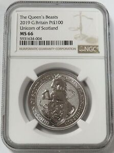 2019 PLATINUM GREAT BRITAIN 100 POUNDS QUEEN'S BEASTS UNICORN COIN NGC MS 66