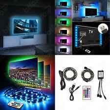 KIT STRIP LED PER RETROILLUMINAZIONE TV RGB USB 1MT STRISCIA ADESIVA SMD 5050 5V