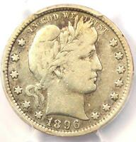 1896-S Barber Quarter 25C - PCGS Fine Details - Rare Key Date Certified Coin!