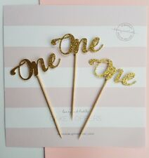 12x ONE Cupcake Toppers Gold Glitter, first birthday, number 1, 1st cake, baby
