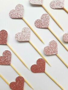 12 HEART BABY PINK GLITTER CUPCAKE CAKE TOPPER PICKS