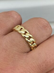 14k Gold Over Solid 925 Silver Men's Ladies 6mm Wedding Band Cuban Link Ring
