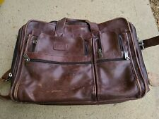TUMI Expandable Great Vintage Authentic Brown Leather Briefcase Messenger Bag