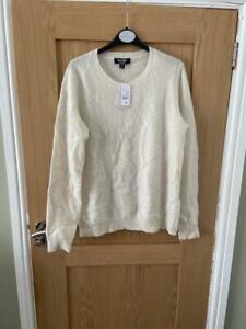 Lord and Taylor 100% Cashmere Crew Neck Jumper - Ivory - Size Large, New RRP £79