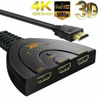 HDMI Kabel Splitter Verteiler Switch Umschalter Adapter HDTV 1080P 4K PC Monitor