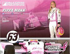 2015 PIPPA MANN INDIANAPOLIS 500 PHOTO CARD POSTCARD INDY CAR SUSAN G. KOMEN