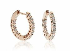 Hoop Very Good Cut Rose Gold Fine Diamond Earrings